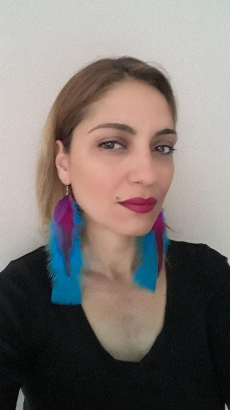Blue Feather Earrings Long Feather Earrings Feather Jewelry Real Feathers Natural Feathers Boho Earrings Bohemian Earrings Boho Jewelry