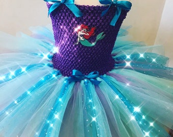Goegeous disney princess ariel inspired super sparkly, extra fluffy tutu dress
