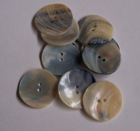 2pc 30mm Blue Cream Real Mussel Shell Cardigan Coat Jacket Knitwear Button 0054