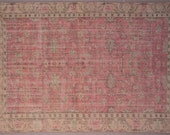 7x10 free shipping.189ns.Turkish,Oushak,Handmade,Distressed,Vintage,antique,Large,home office,House living room,Flower pattern,red green rug