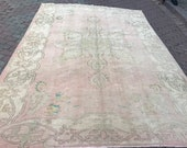 7x10 Free shipping.188ns.Turkish,Oushak,Handmadevintage carpet,Distressed,Large,Antique,home office,House living room,cream pink green rug