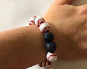 Lava Bead Essential Oil Diffuser Bracelet Anxiety Depression ADHD Autism Baseball