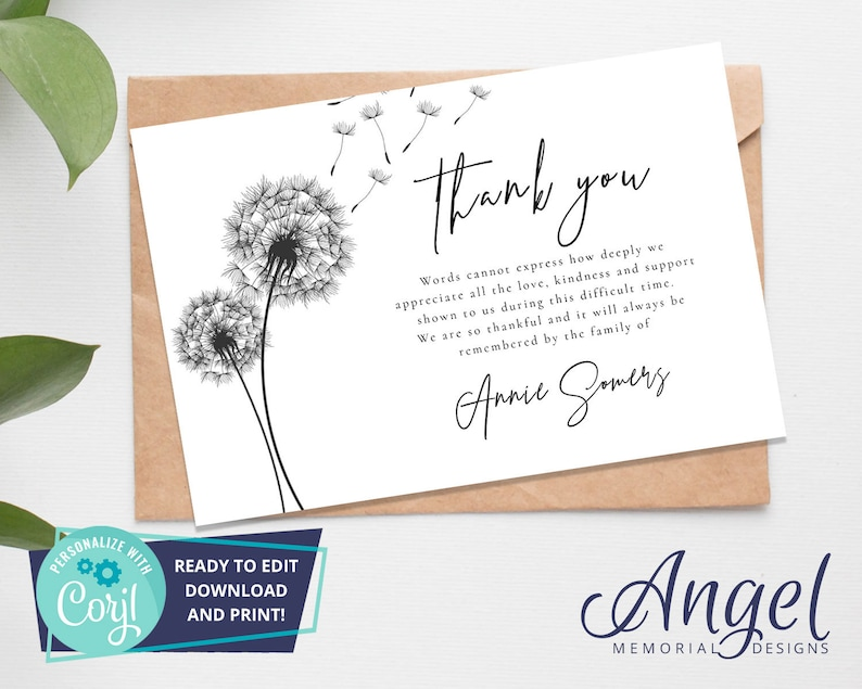 funeral thank you card 5x7 printable funeral template  etsy