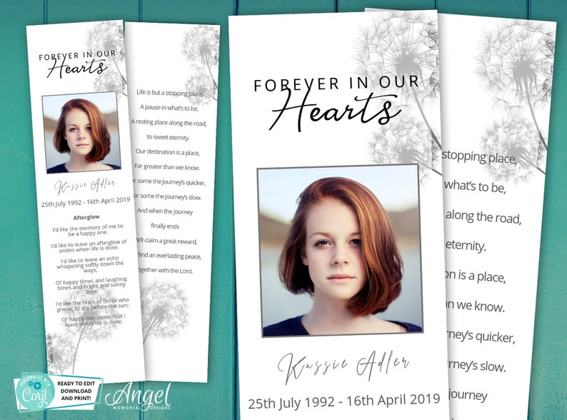 Memorial ideas DS002 Funeral Bookmark Template Printable Funeral Bookmark Dandelion Bookmark Memorial Bookmark
