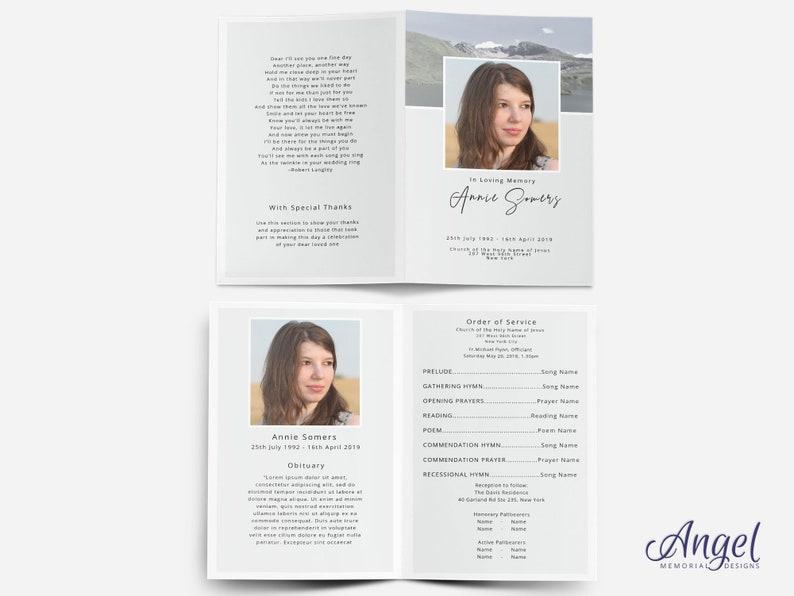 Obituary Program Template Editable Funeral Program Scenery Celebration of Life Funeral Program Template Funeral Card Template
