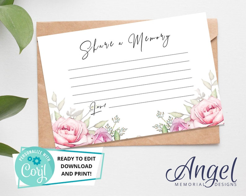 Keepsake funeral Card Printable Funeral Memory Card Funeral Invite Card Rose DS003 Share a Memory Funeral Card