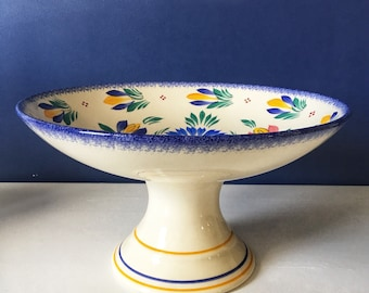 French Vintage Quimper Faience Cake Stand/Plate