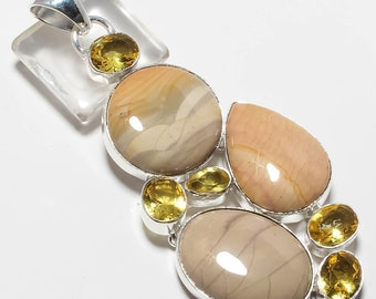 "Willow Creek Gemstone Handmade Jewelry Pendant 3.47"""