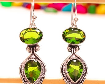 "Green Peridot Gemstone Handmade Jewelry Earrings 2.2"""