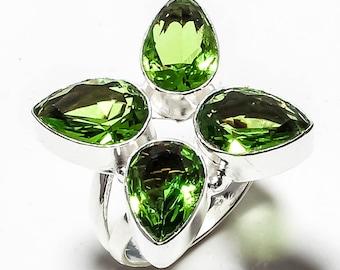 Green Peridot Gemstone Handmade Jewelry Ring 9.5