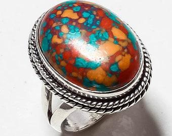Red Mosaic Jasper Gemstone Handmade Jewelry Ring 6.5