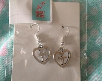 Earings heart and cross