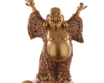 Statuette Buddha on Turtle-red and gold effect