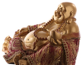 Statuette Buddha sits hand on sack-red and gold effect