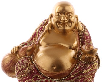Statuette Buddha sits-small red and gold effect