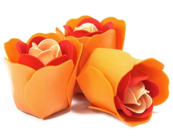 3 Soap Roses in the Heartbox-peach colors
