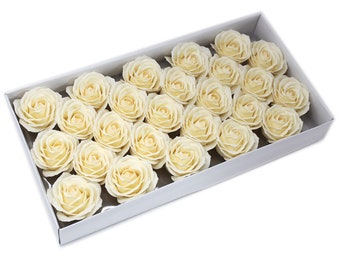 25 Soap Roses set, guest gifts, ivory