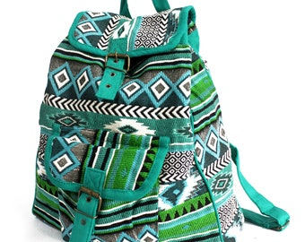 Jacquard Blue Green Backpack