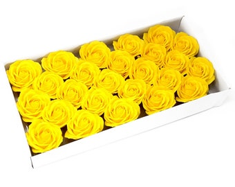 25 Soap Roses set, guest gifts, yellow