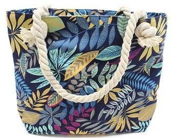 Bag-Balinese pattern blue, purple and yellow leaves