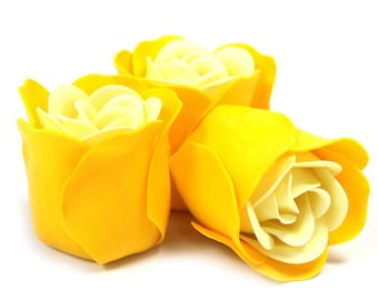 3 Soap Roses in the Heartbox-yellow