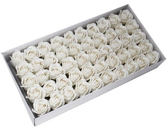 50 Soap Roses set, guest gifts, white