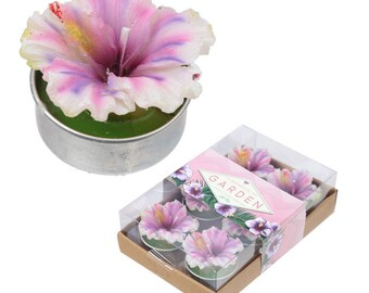 Set of 6 tea lights cactus candle-orchid