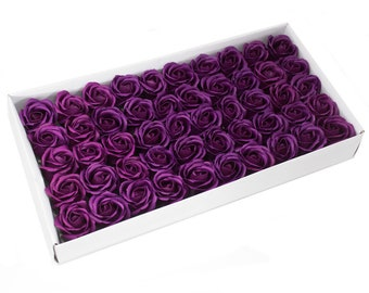 50 Soap Roses set, guest gifts, dark purple