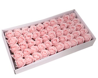 50 Soap Roses set, guest gifts, pink