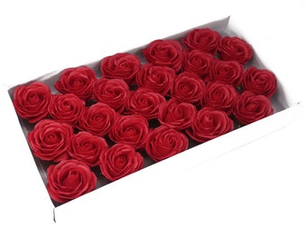 25 Soap Roses set, guest gifts, red