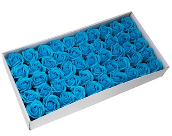50 Soap Roses set, guest gifts, sky blue