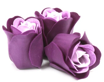 Set of three soap roses in the Heartbox-purple