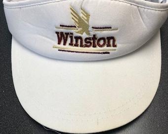 dcf9542df74 Vintage Winston Visor Hat Cap Eagle Cigarette 80s Nascar Winston Cup