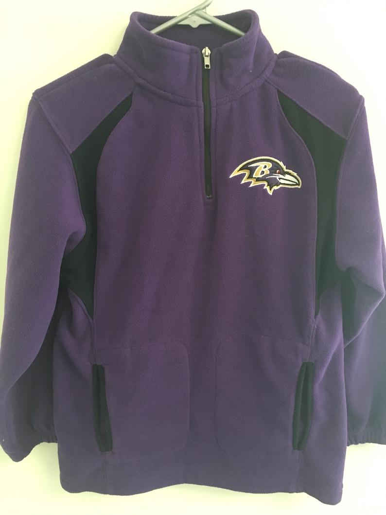 7d1319be Baltimore Ravens NFL Purple Black Fleece 1/4 Zip Youth M 10/12 Jacket