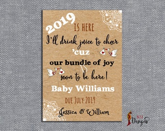 new year pregnancy announcement card 2019 pregnancy announcement card bundle of joy pregnancy announcement