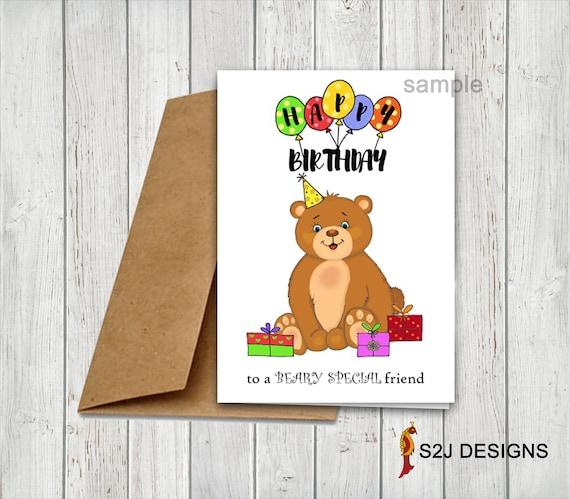 Personalized Children S Kids Birthday Card Teddy Bear Etsy