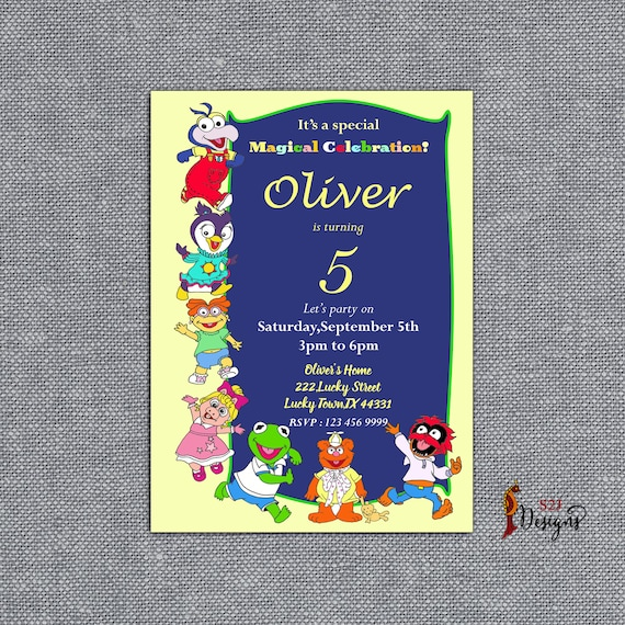 Personalized Children S Birthday Party Invitation Card Muppet Birthday Party Invitation Card Customized Birthday Party Invite Card