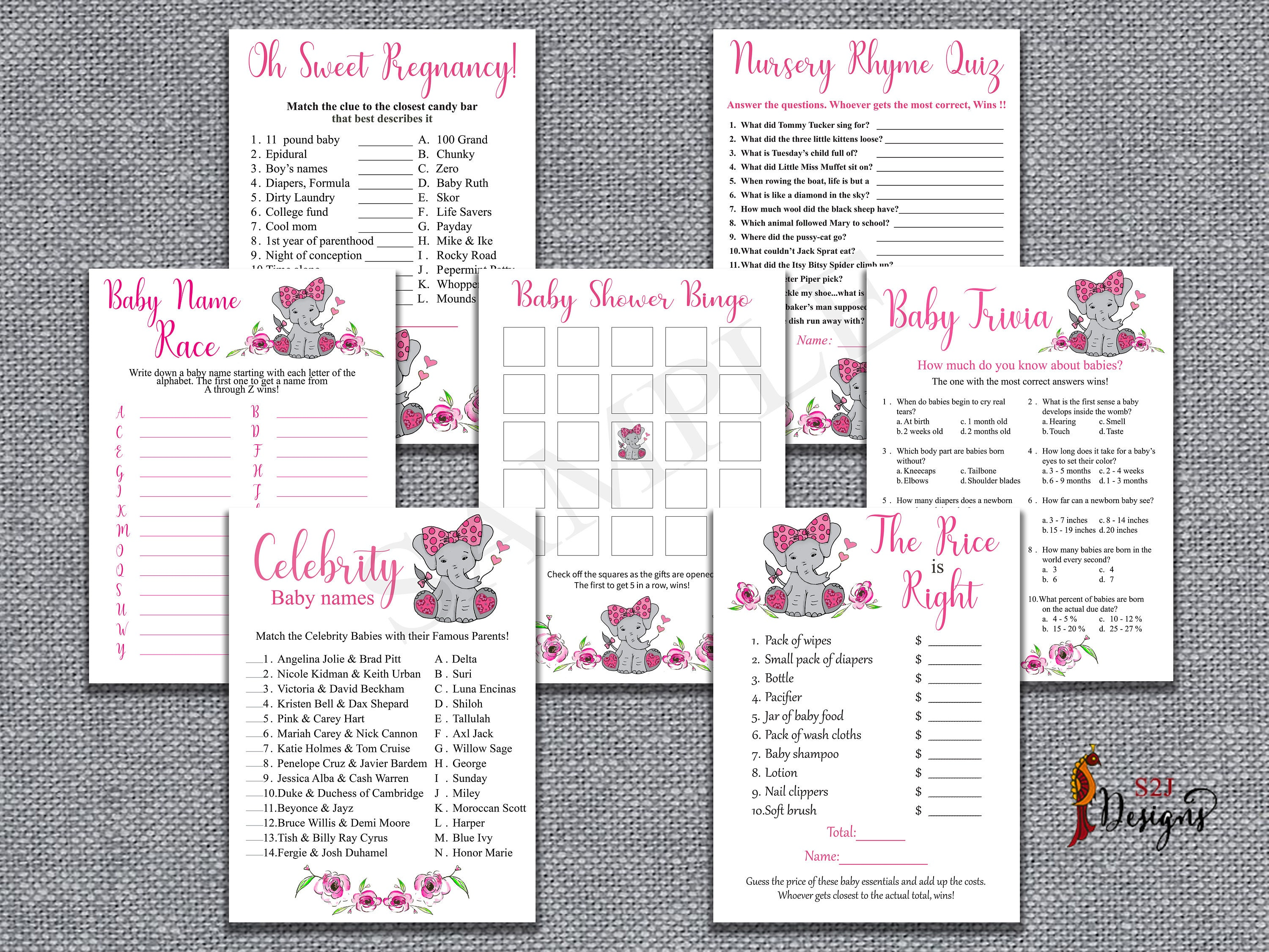 Baby Shower Combo Pack, Pink Elephant Themed Baby Shower Games Bundle, Baby  Shower Seven Games Pack, DIY Game, Baby Girl Shower Game