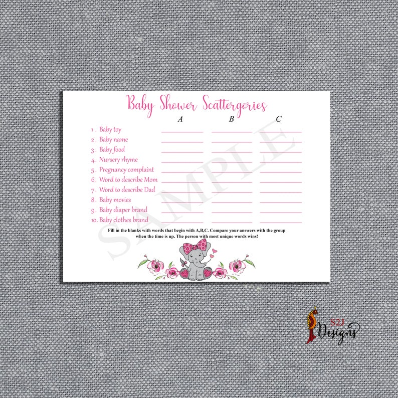 Baby Shower Scattergories Game, Baby Elephant A B C Scattergories Game,  Pink Elephant Girl Baby Shower Activity