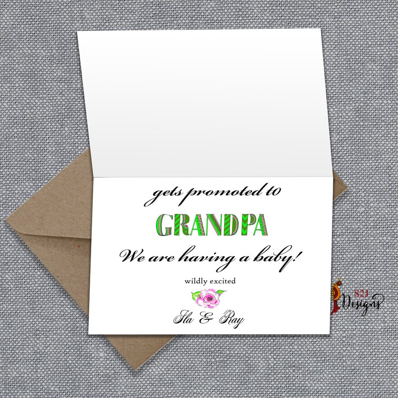 Happy Father/'s Day Card printed floral pregnancy card 5x7 customized The most awesome dad.. gets promoted to grandpa