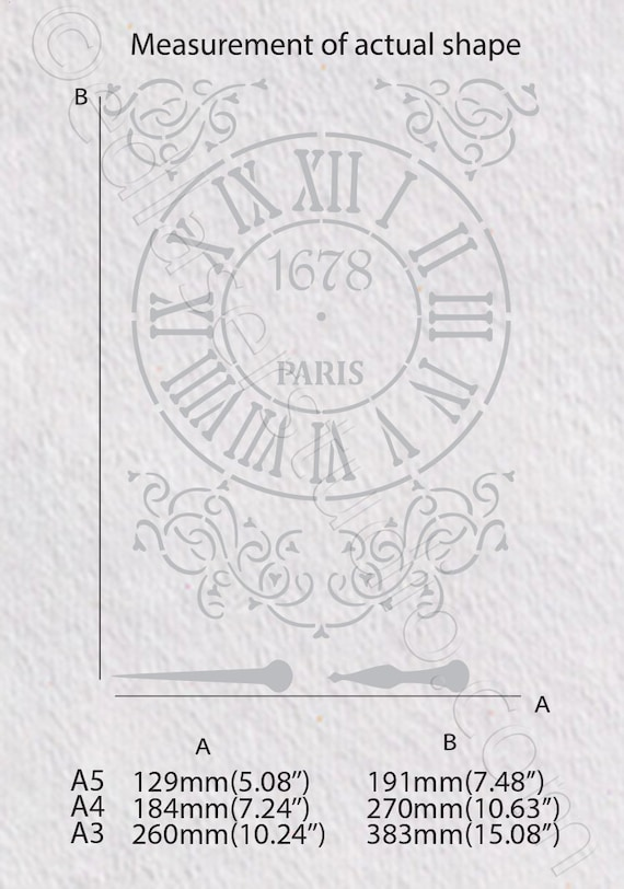 Clock Stencil Vintage Template Masks Card making Crafts Paint Furniture Wall CL2