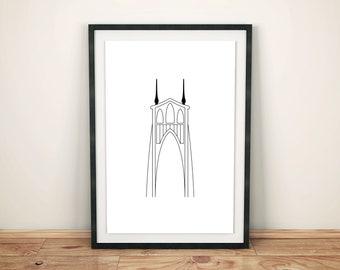 "St. John's Bridge - Portland, OR | Printable Artwork | 5"" x 7"""