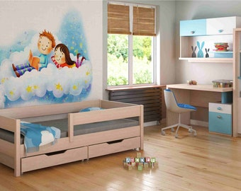 160x80, Pink Willow no Drawers no Mattress Included Childrens Beds Home Solid Pine Wood Single Bed