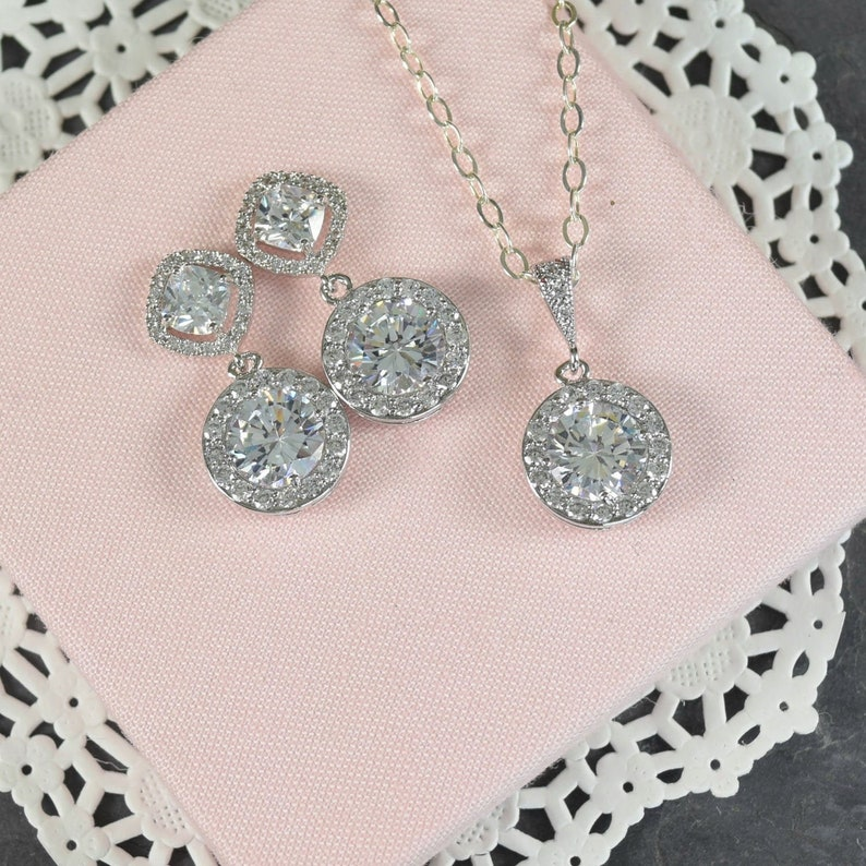 Simple Bridal Jewelry Set  Crystal Bride Necklace and Earrings for Wedding Day Silver Cubic Zirconia Art Deco Wedding Jewelry for Brides