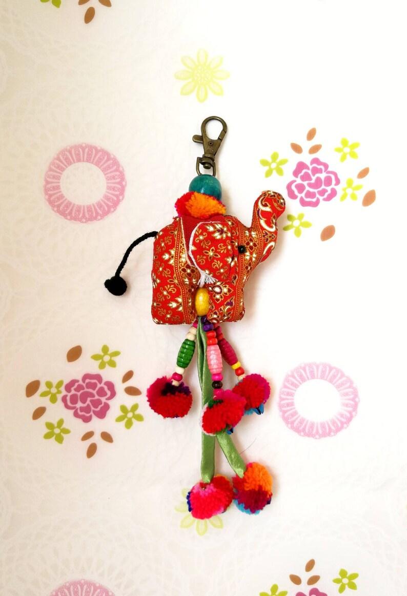 Keychain Elephant Fabric  Handmade Thailand Key chain Wedding for Birthday Gift charm cute doll keyring Keychain Gift for Her Gift for Women