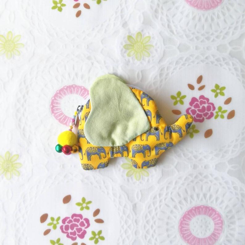 Elephant Coin Purse Change Purse Handmade Yellow Cute Elephant Coin Pouch Zip Pouch Small Zipper Pouch Gift Card Holder Elephant Gift