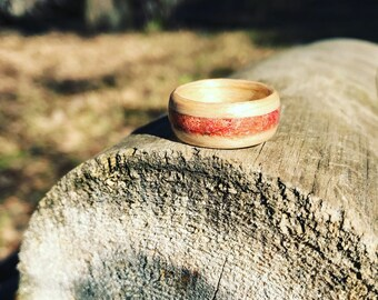 Red coral Bentwood ring, Birch red coral handmade ring, red wood ring, engagement ring, wood and stone ring, red engagement ring, coral ring