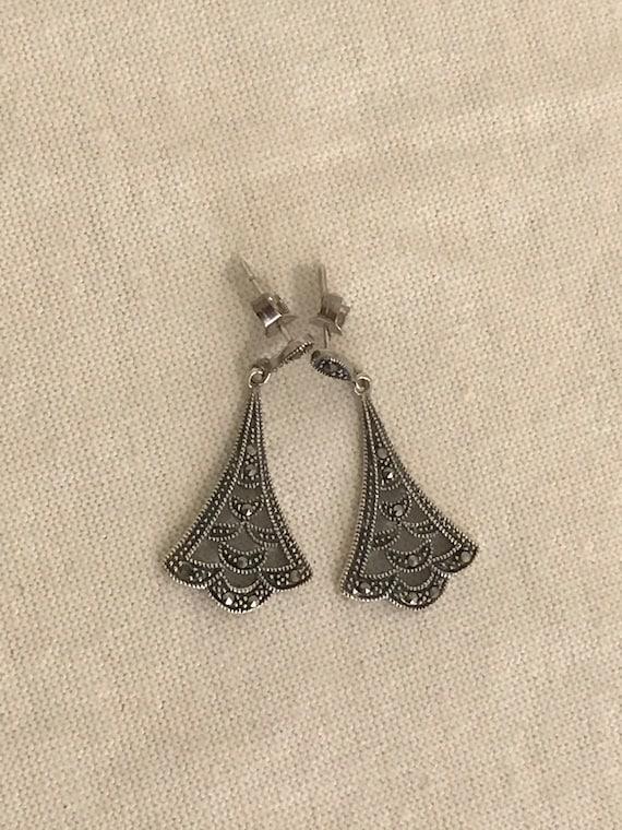 Marcasite Art Deco inspired drop earrings