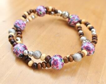 Bracelet - Polymer clay Beads, Wood and Metal beads. Boho style Bracelet.Clay art jewellery. BRT7