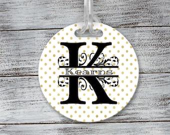 Personalized Luggage Tag   Custom Monogram Bag Tag   Gold Polka Dot